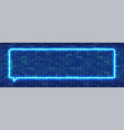 neon sign in rectangular frame shape bright neon vector image