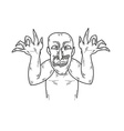 old ugly man sketch vector image vector image