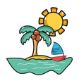 palm with sailing boat around of island