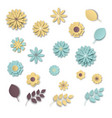 paper art flowers set white scale blue and vector image