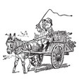 pig driving car pull by donkey vintage vector image vector image