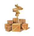 pile of stacked goods cardboard and wooden boxes vector image vector image
