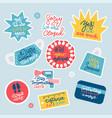prevention warning stickers set with coronavirus vector image