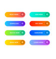 realistic detailed 3d color button template set vector image vector image