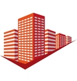 Red sign with skyscrapers vector image vector image