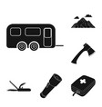 rest in the camping black icons in set collection vector image vector image