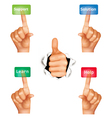 set hands pushing different buttons vector image vector image
