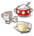 Sugar bowl butter and broken cup isolated vector image
