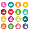 teapot icons set colorful circles vector image