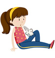 Teenage girl feeling tired vector image vector image