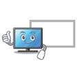 thumbs up with board lcd tv cartoon in living room vector image vector image