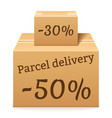 two cardboard boxes package vector image