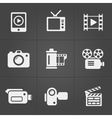 Video icons over black background vector image vector image