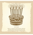 Vintage poster with birthday cake vector image vector image