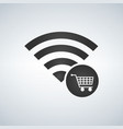wifi connection signal icon with shopping cart vector image vector image