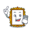 with phone picture frame character cartoon vector image