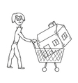 woman and house vector image