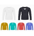 Realistic Men T-shirt with long sleeves set vector image