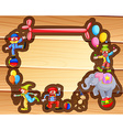 Border design with clowns and balloons vector image