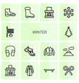 14 winter icons vector image vector image