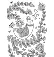 beautiful detailed coloring page with bird vector image vector image