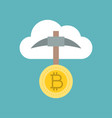 bitcoin mining with clouds icon vector image vector image