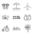 boarding school icons set outline style vector image vector image