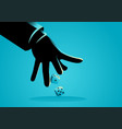 businessman hand throwing dices vector image