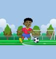 cartoon black boy soccer player in field vector image