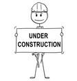 cartoon of workman or technician holding under vector image