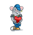 cartoon rat with a heart in his hand in stylish vector image