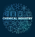 chemical industry blue concept round line vector image vector image