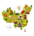 chinese travel with different vector image vector image