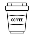 coffee plastic cup icon outline style vector image vector image