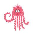 cute cartoon pink flirtatious octopus girl vector image vector image
