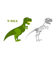 Dinosaur Tyrannosaurus skeleton Bones and skull vector image vector image