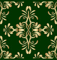embroidery gold green damask seamless pattern vector image vector image