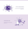 eye diseases and headache concept template web vector image
