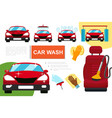 flat car washing service composition vector image