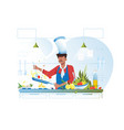 flat young chef cooking vegetarian dish with olive vector image