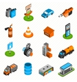 Gas station elements isometric icons vector image vector image