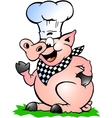 Hand-drawn of an chef pig standing and pointing vector | Price: 1 Credit (USD $1)