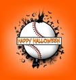 happy halloween and baseball ball vector image