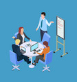 isometric business meeting or conference with info vector image vector image