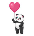 joiful panda with pink heart shaped balloon vector image