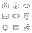 Line Icons Style Photography icons vector image vector image