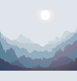 misty mountain silhouette landscape background vector image