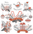 new year and christmas decoration set gifts vector image vector image