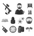 paintball team game monochrome icons in set vector image