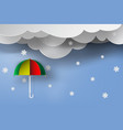 paper art of colorful umbrella with winter vector image vector image